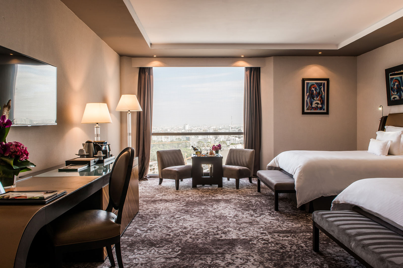 Deluxe Sky Twin Room at Kenzi Tower Hotel in central Casablanca,
