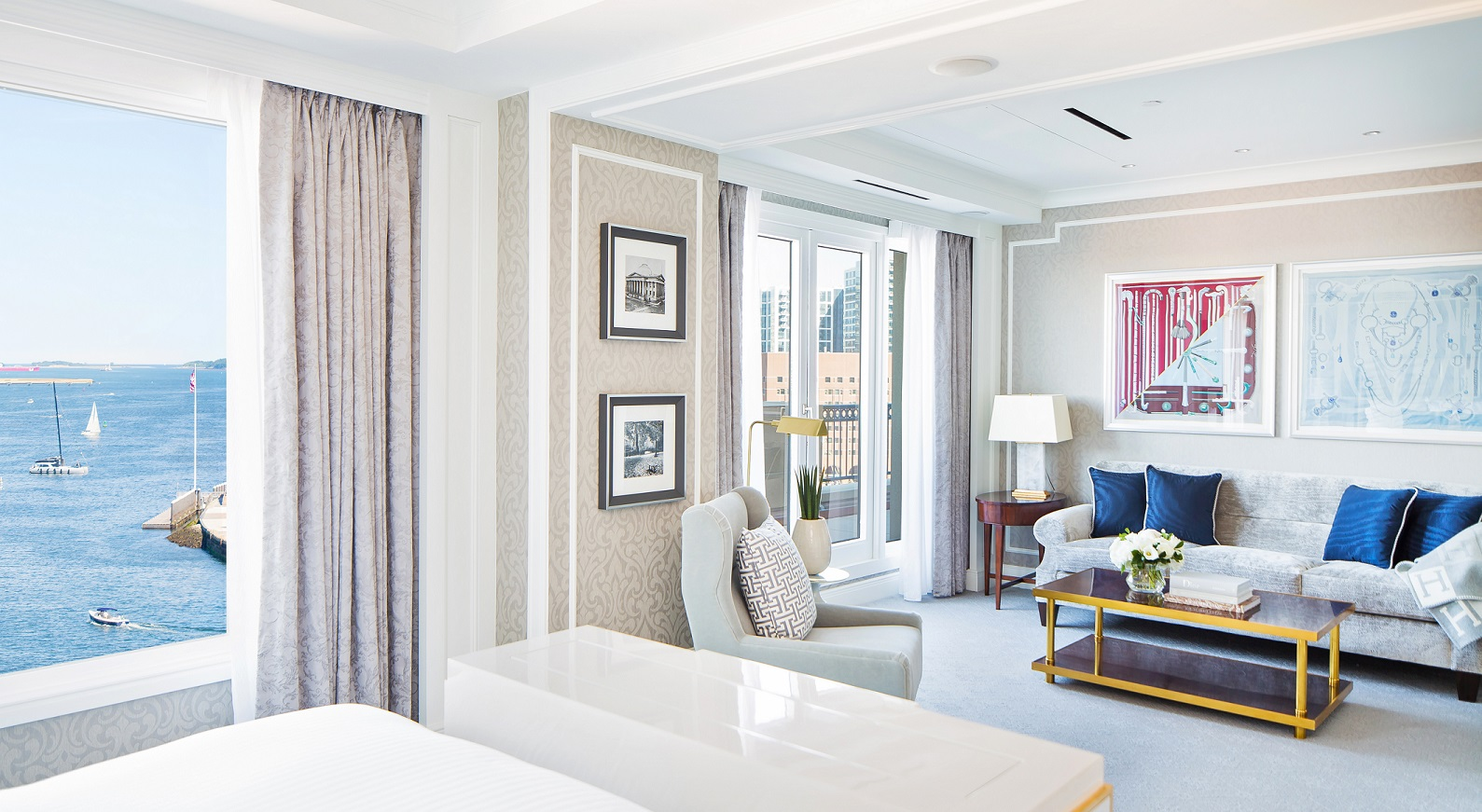 Living area of hotel suite on Boston Harbor