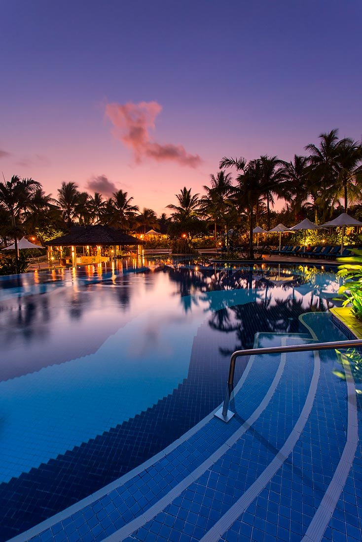 Pool Night View at Warwick Le Lagon Vanuatu