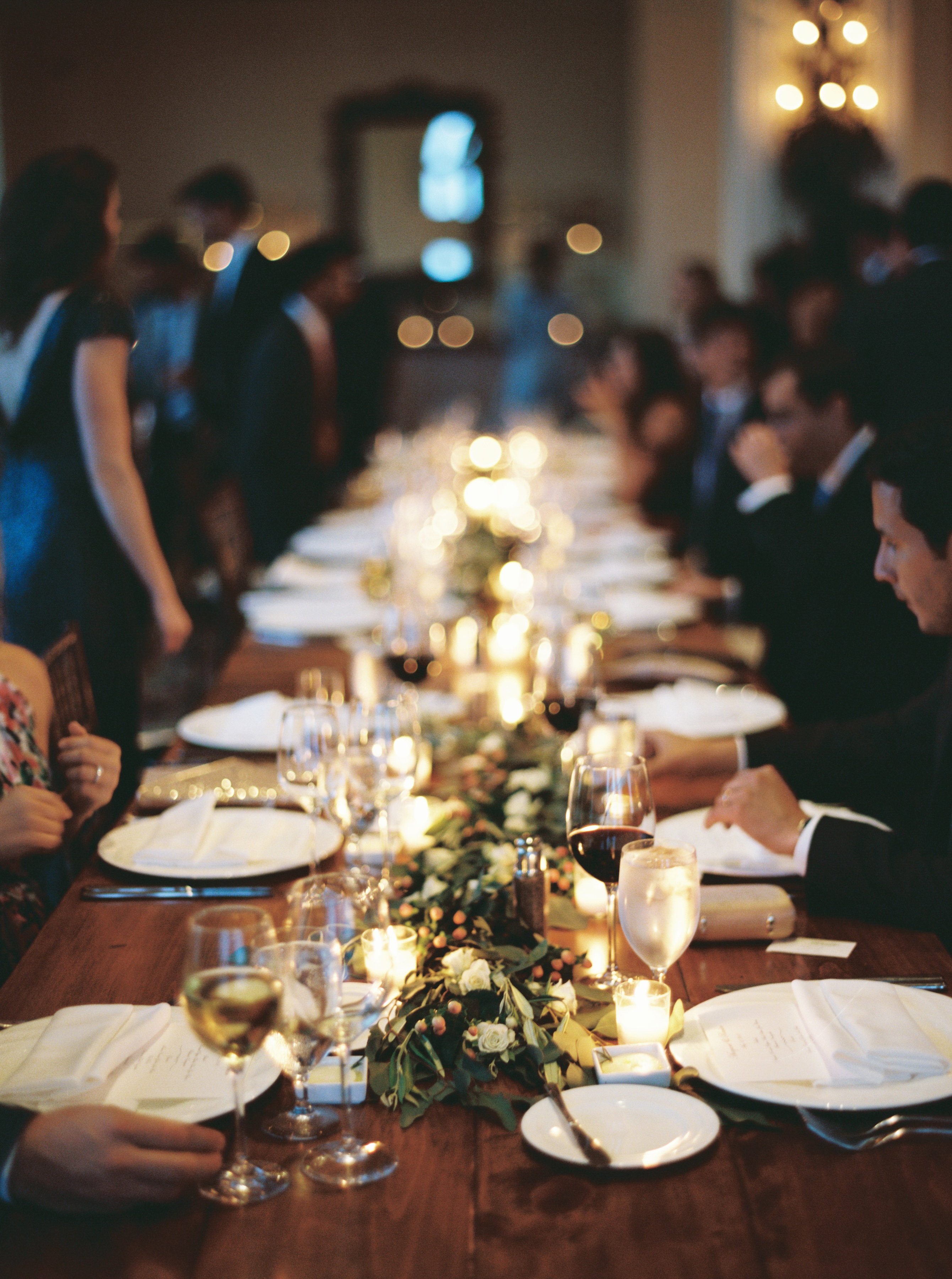 Guests at long dining table