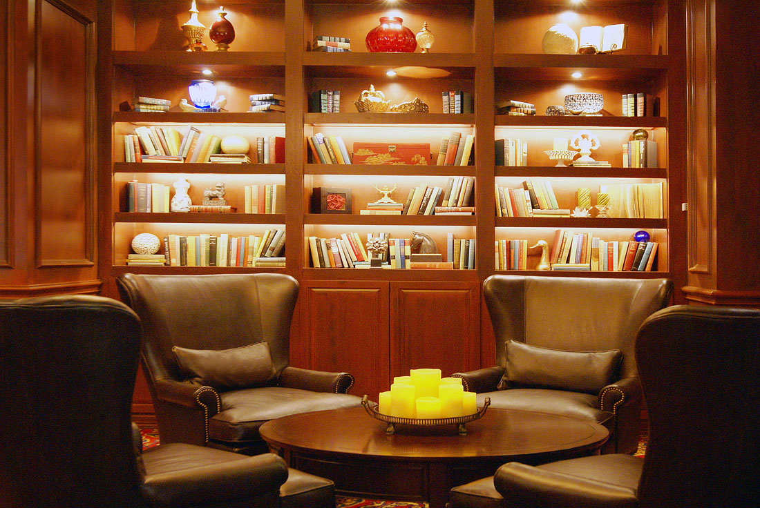 Wingback Chairs Library Bar with Candles