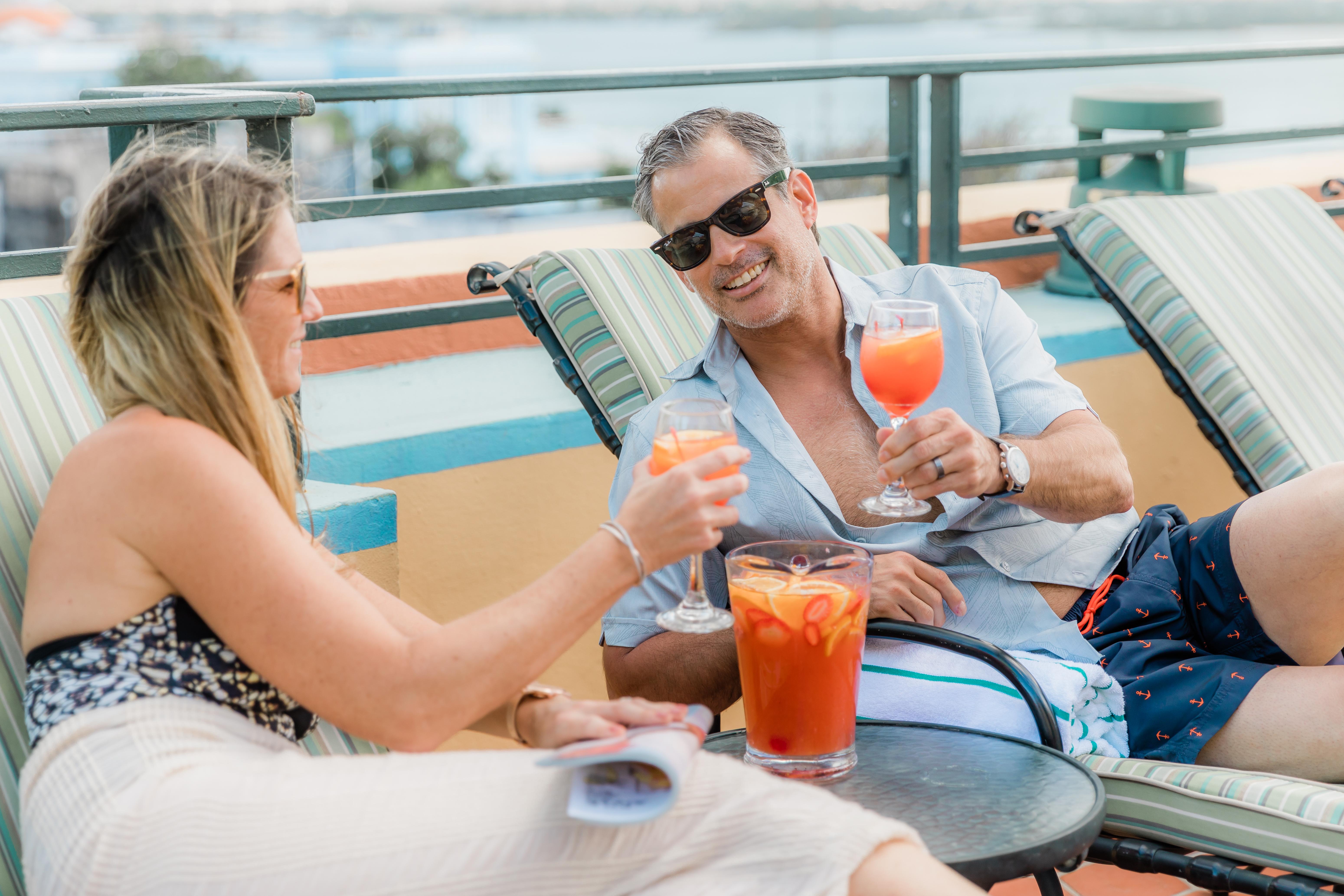 couple relaxing in terrace