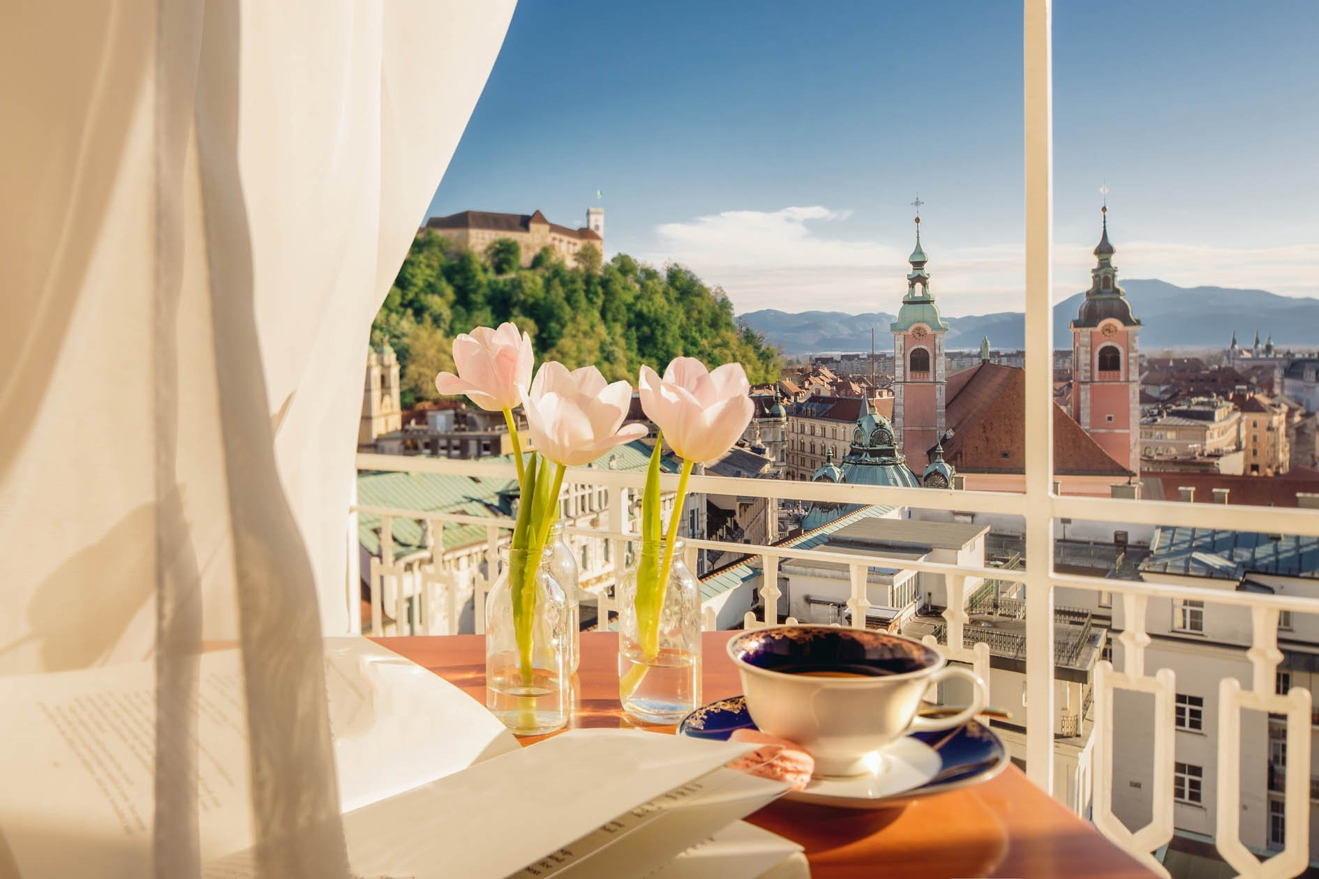 Terrace with views at Gran Hotel Union Ljubljana
