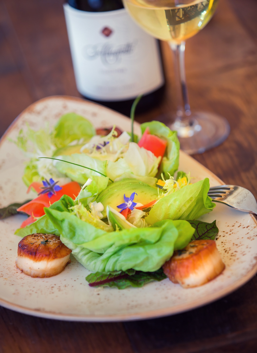 Our scallop salad prepared at our Cello Restaurant