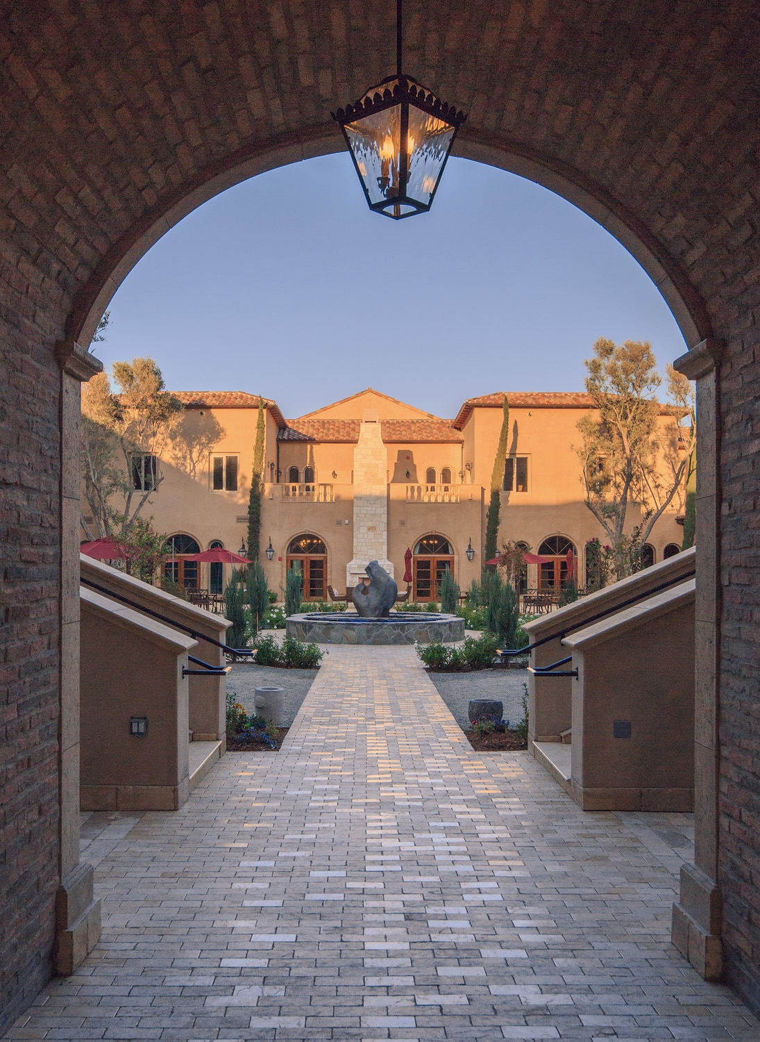 Looking through an archway into the resort's courtyard