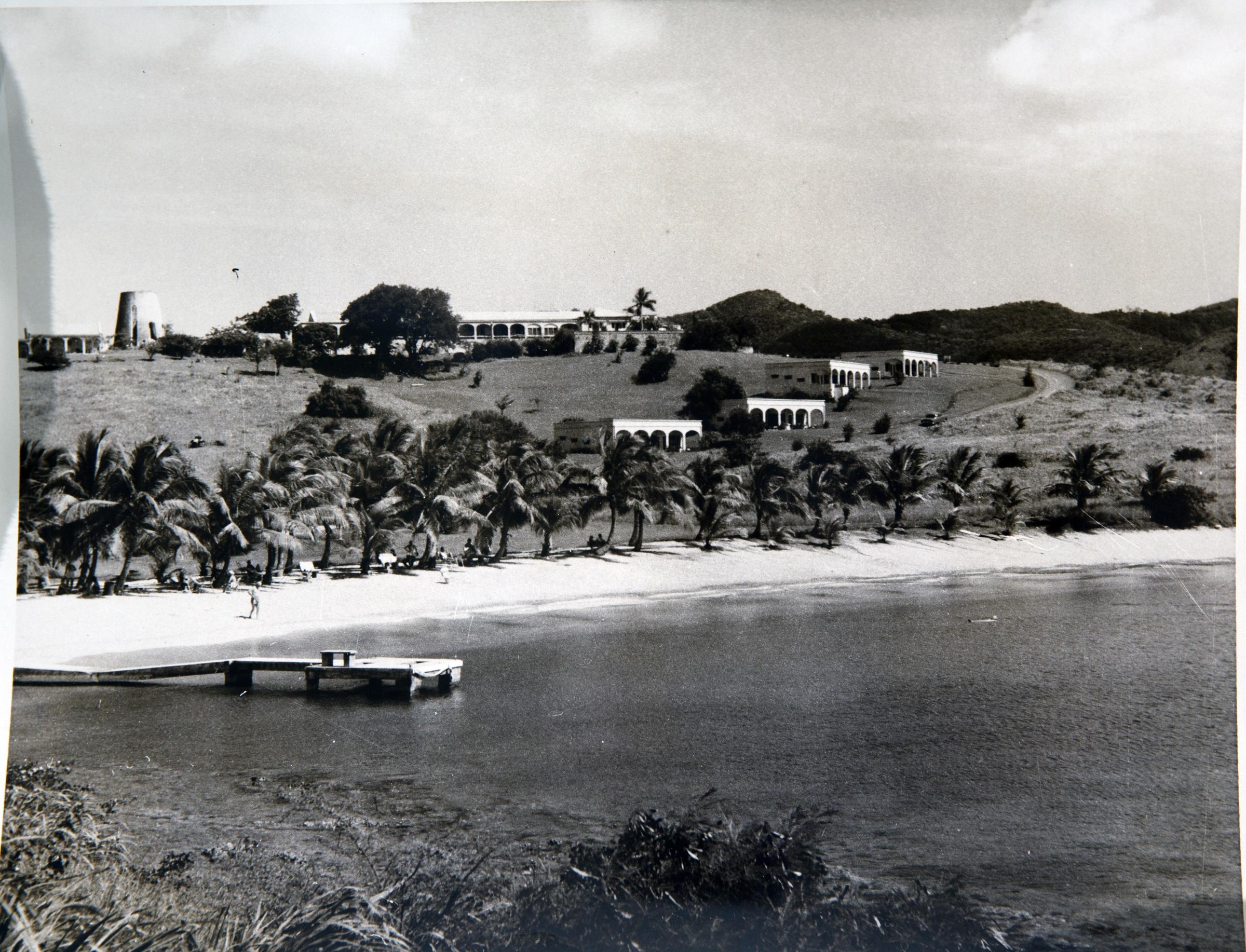 Black & white historical photo of The Buccaneer Resort