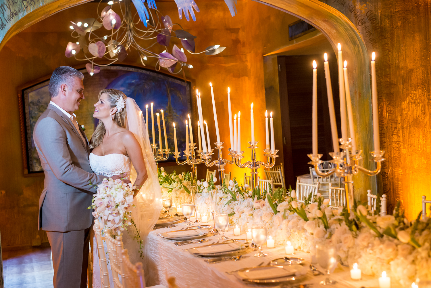 wedding couple in decorated venue