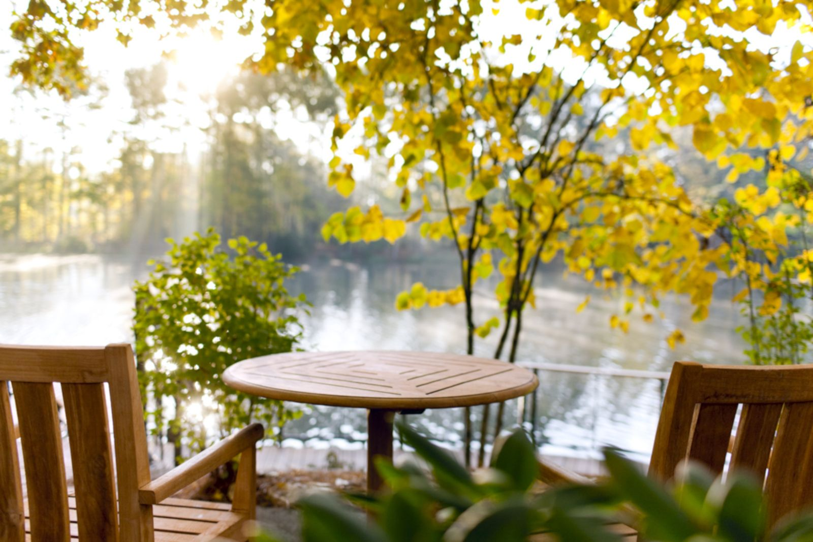 chairs overlooking lake with fall leaves