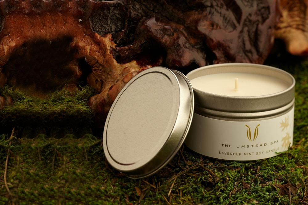 lavender mint soy candle in grass
