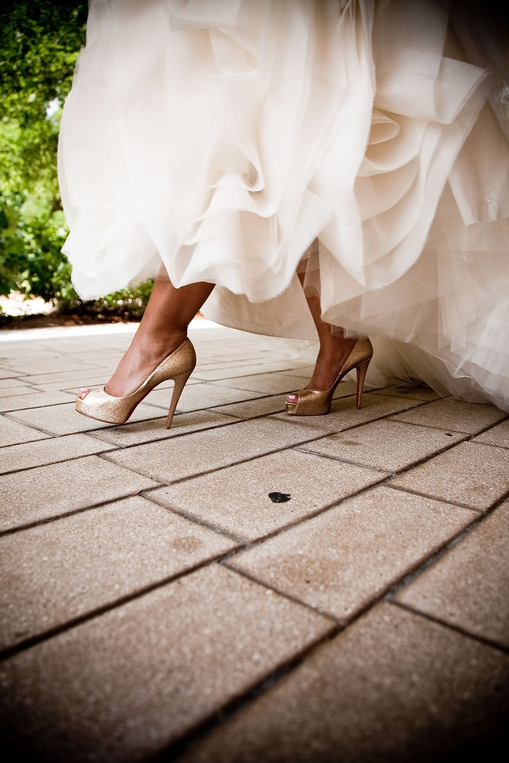 gold shoes and wedding dress