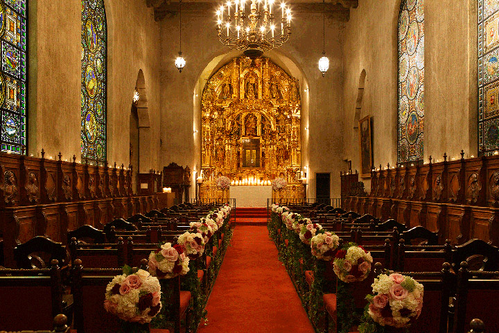St Francis of Assisi chapel with flowers decorating the aisle