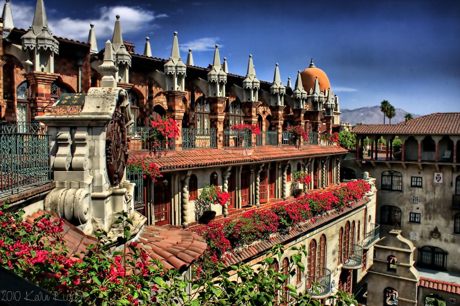 Exterior of Mission Inn Hotel Riverside with flowers