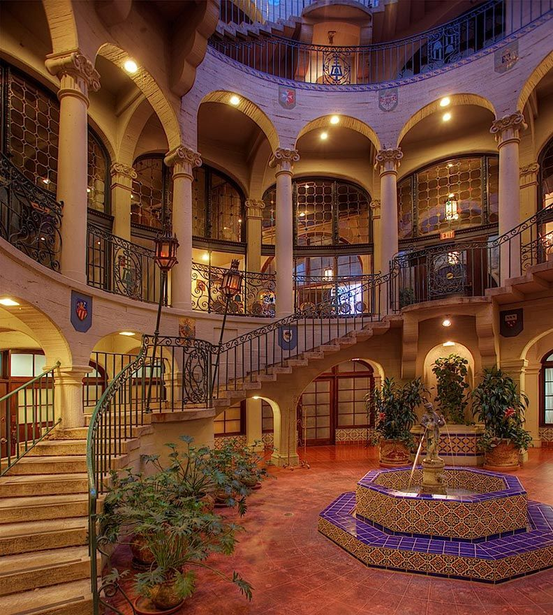 exterior staircase at Mission Inn Riverside