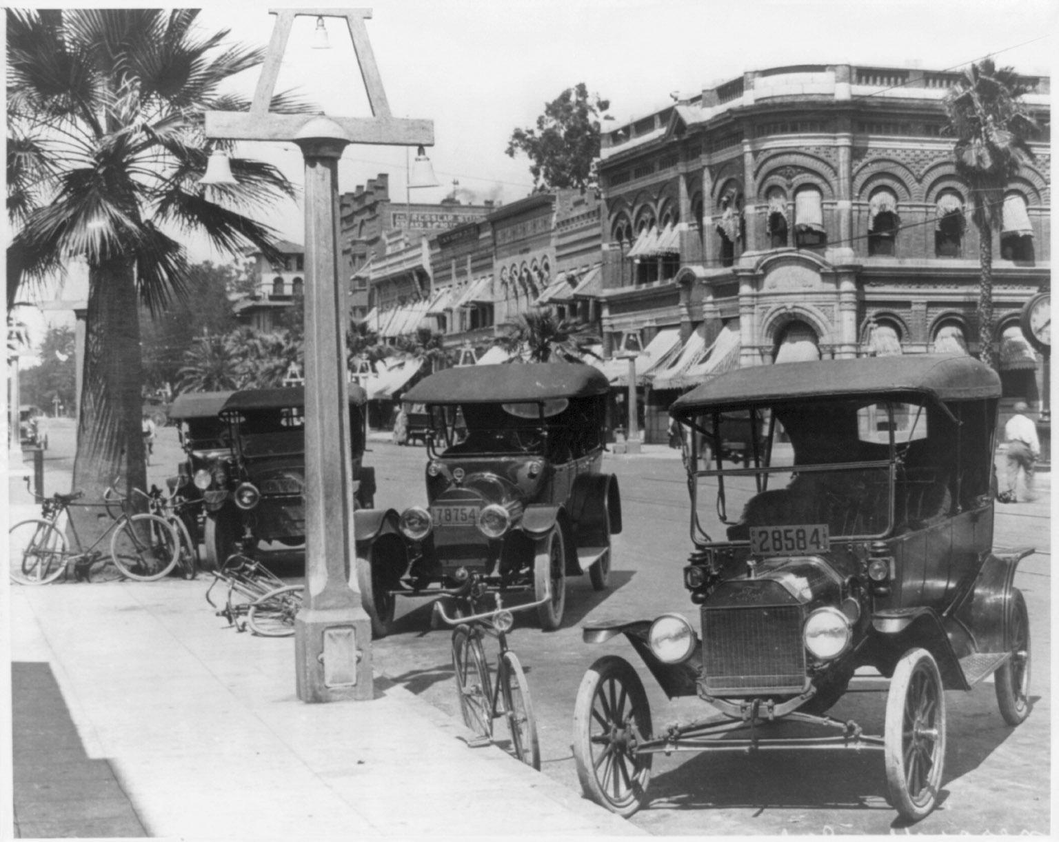 vintage cars parked on street