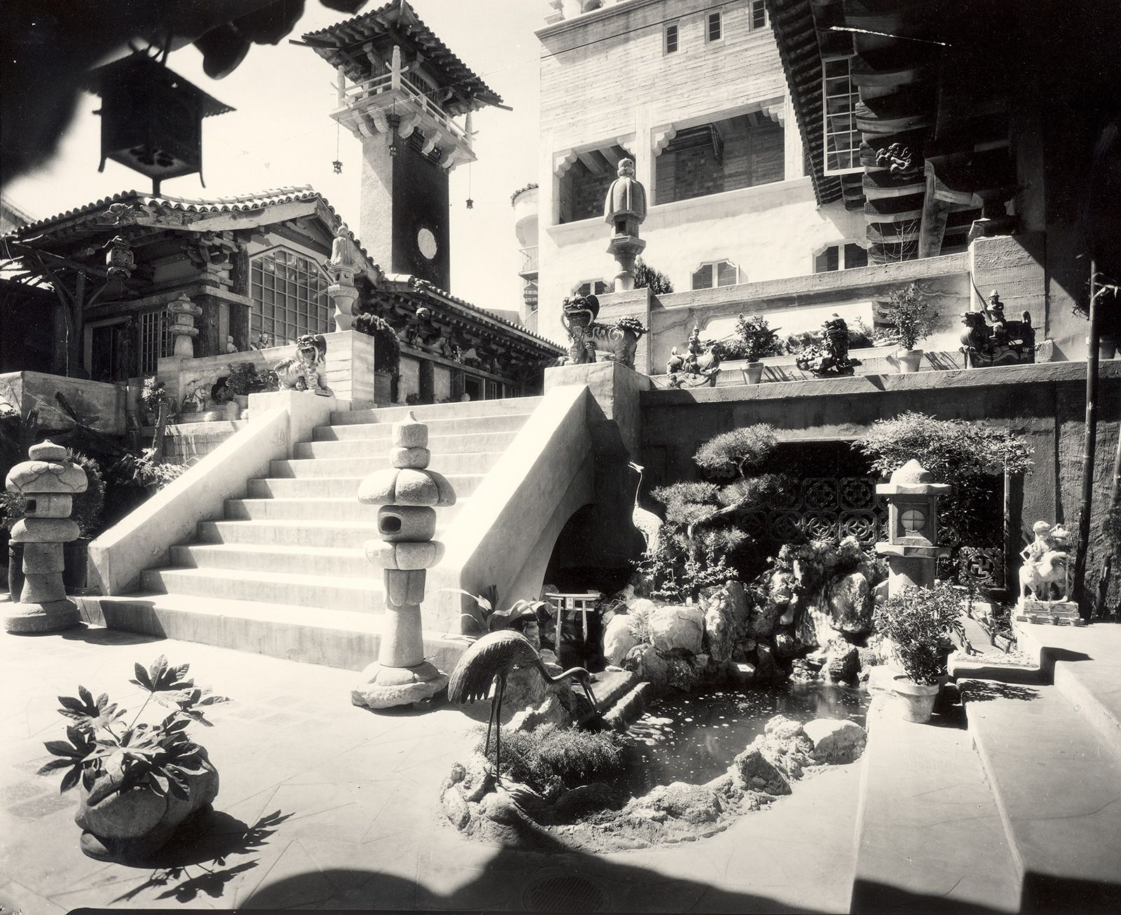 vintage image of Court of the Orient with exterior stairs