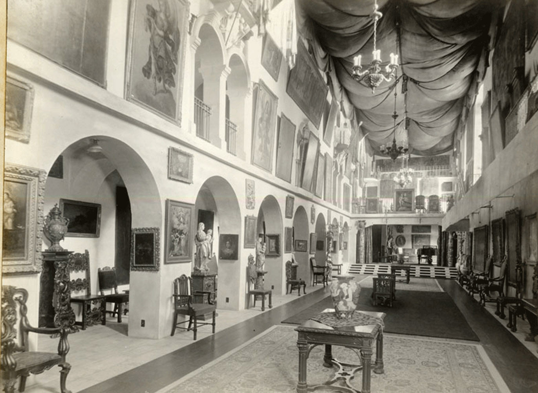 vintage image of Spanish art gallery in Mission Inn