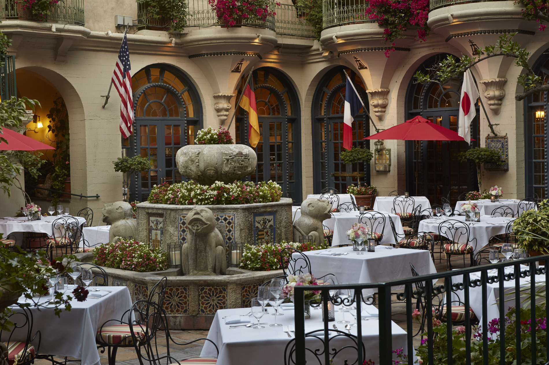 outdoor patio at Mission Inn with tables and chairs