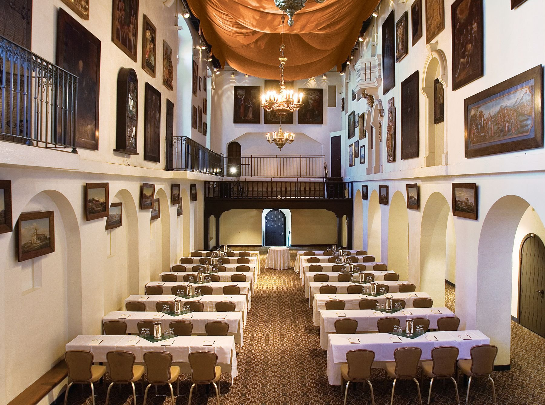 banquet room with conference table set up