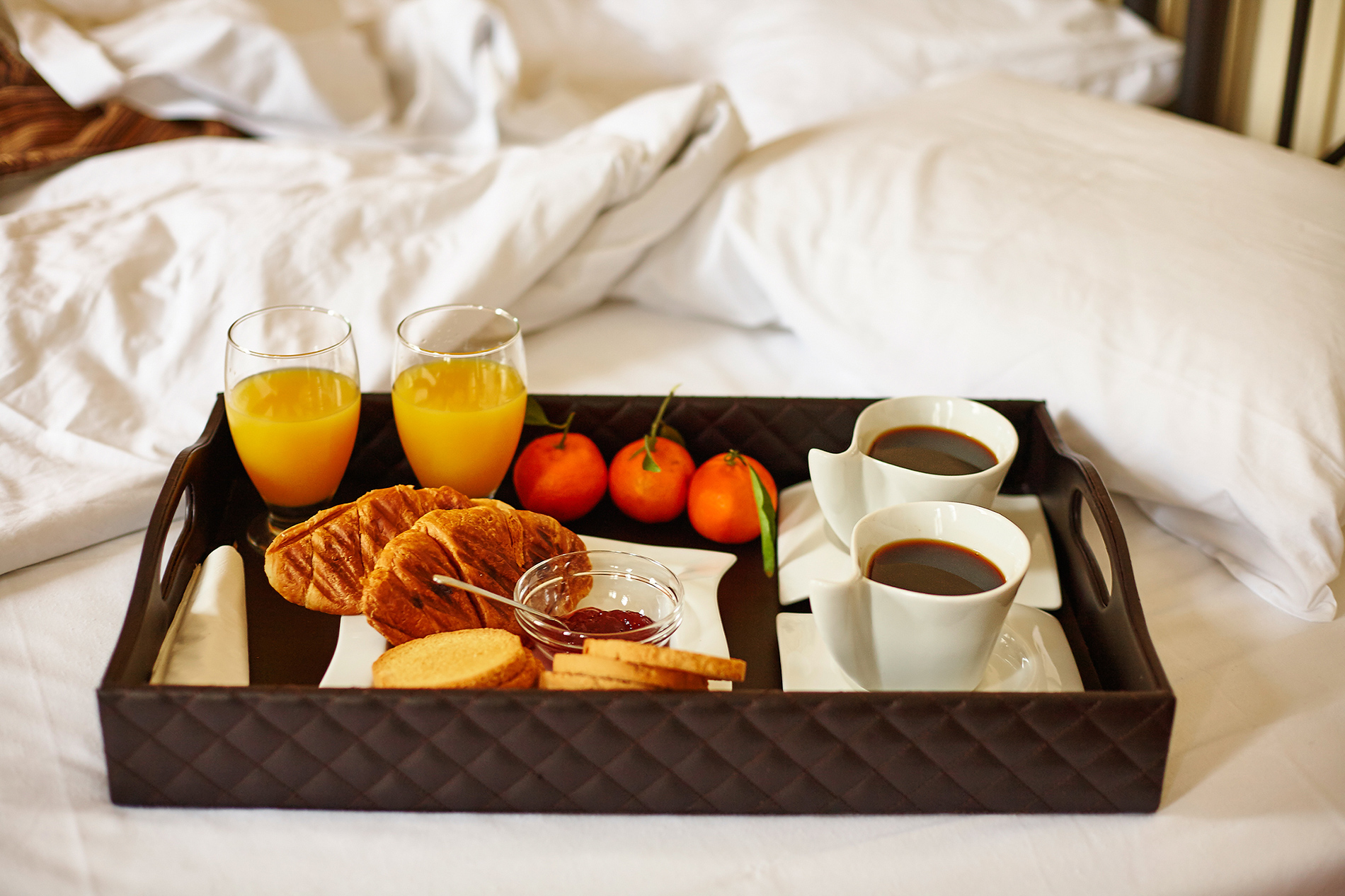 tray of food on bed