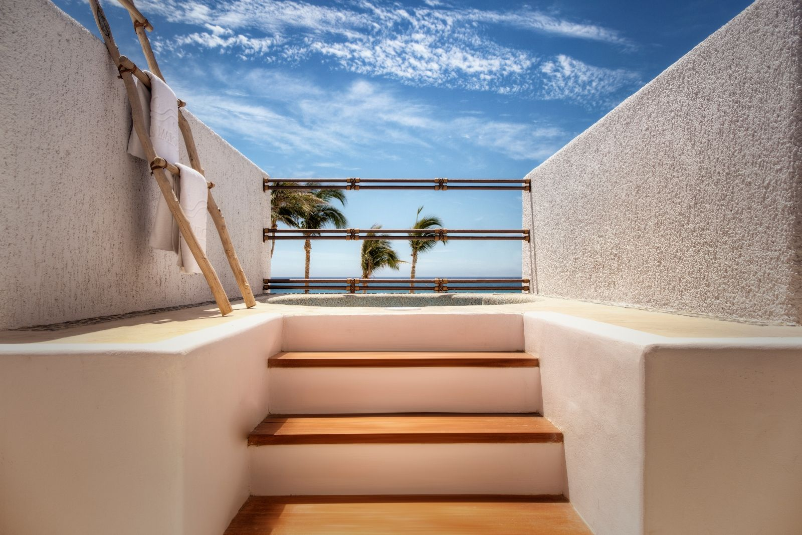 stairs leading to an ocean view
