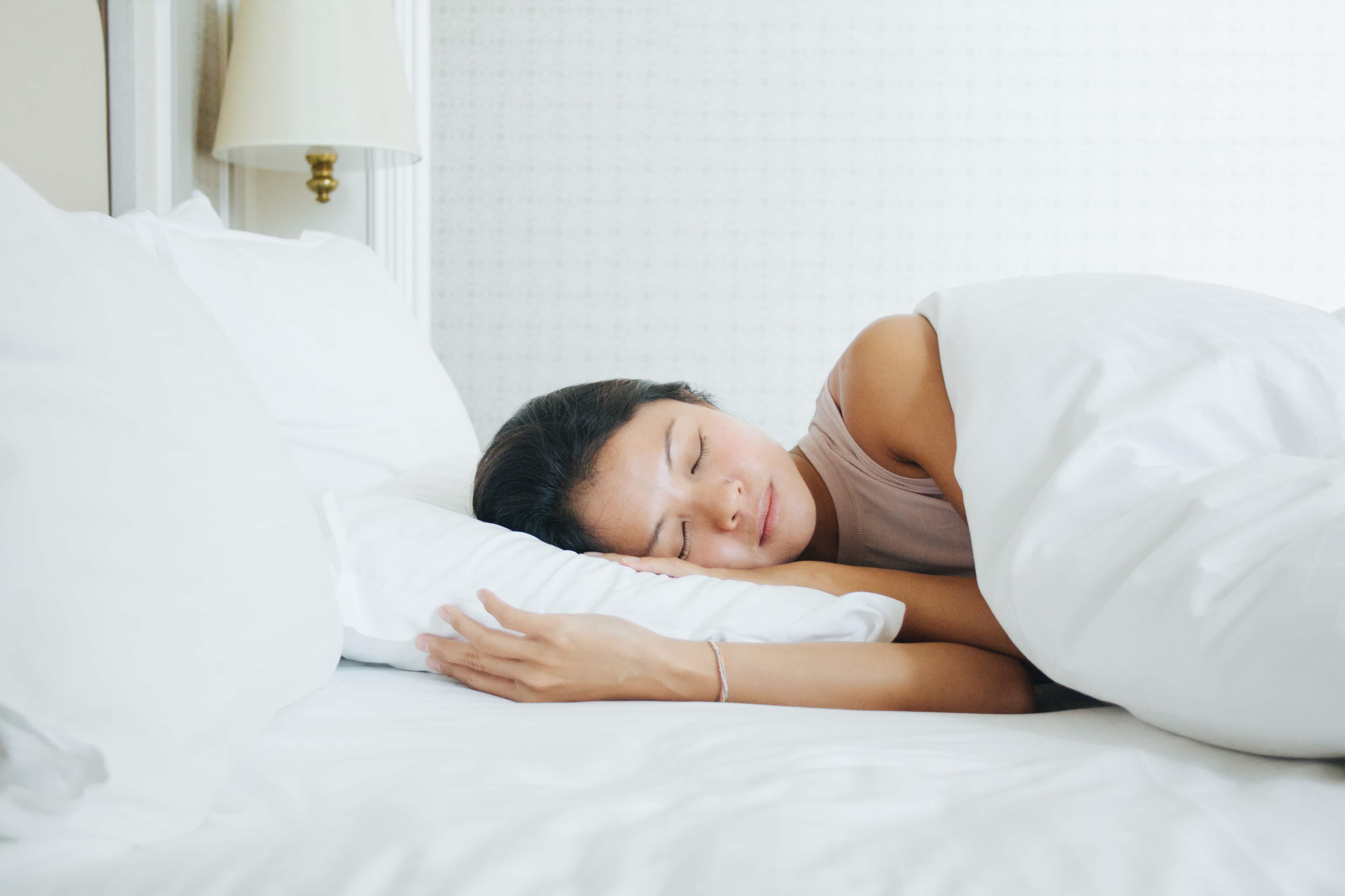A lady sleeping