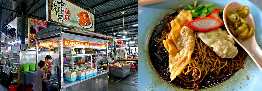 Wan Tan Mee and Pasembur in Cecil Street Market, the famous street food in Penang