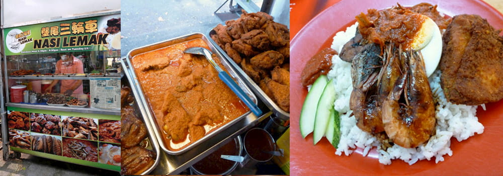 Nasi Lemak in Paya Terubong, one of the famous street food in Penang