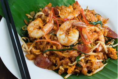 Char Kuey Teow, one of the Penang noodle street food