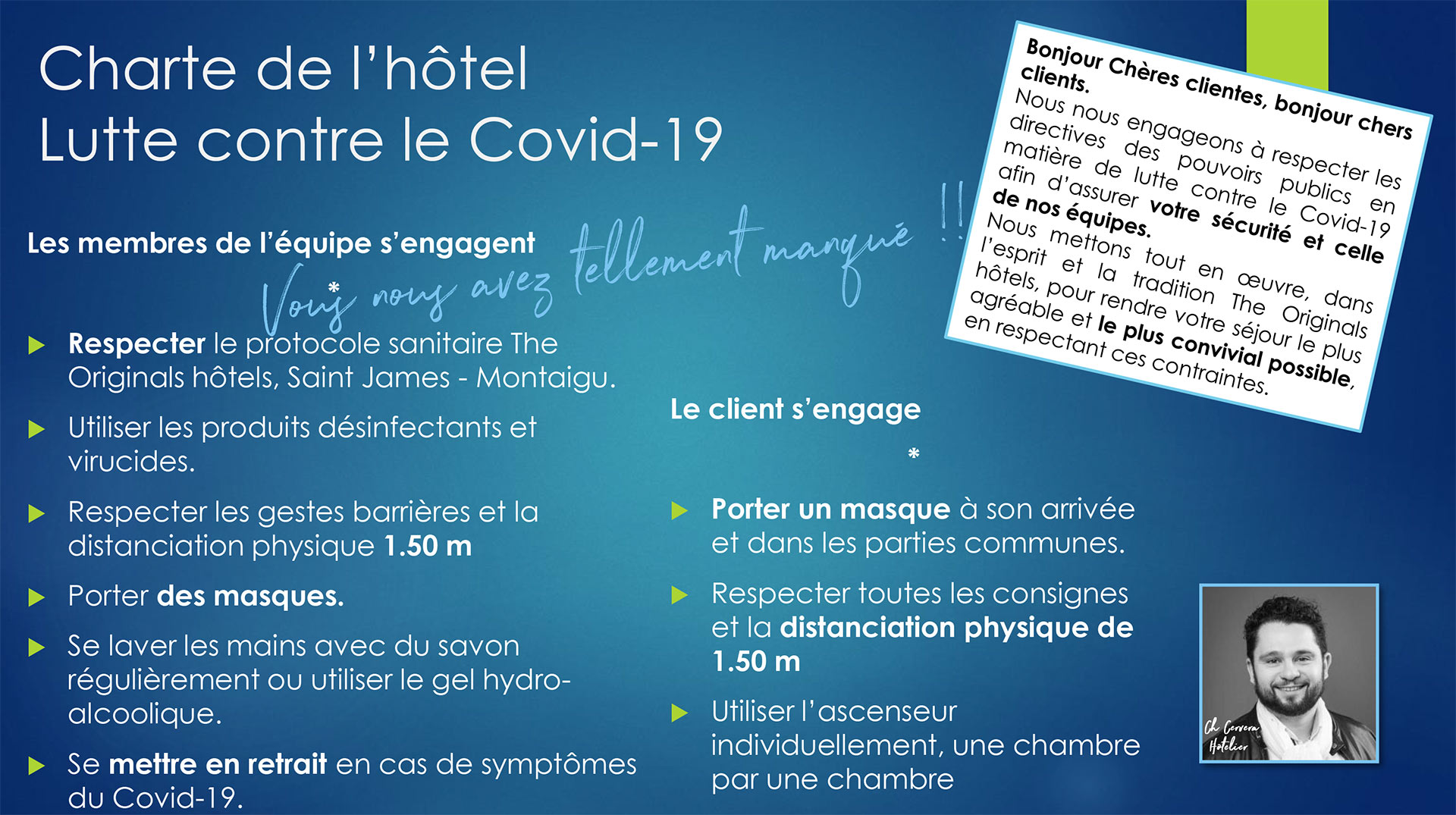 Charte de lutte contre le Covid-19 HOTEL SAINT JAMES