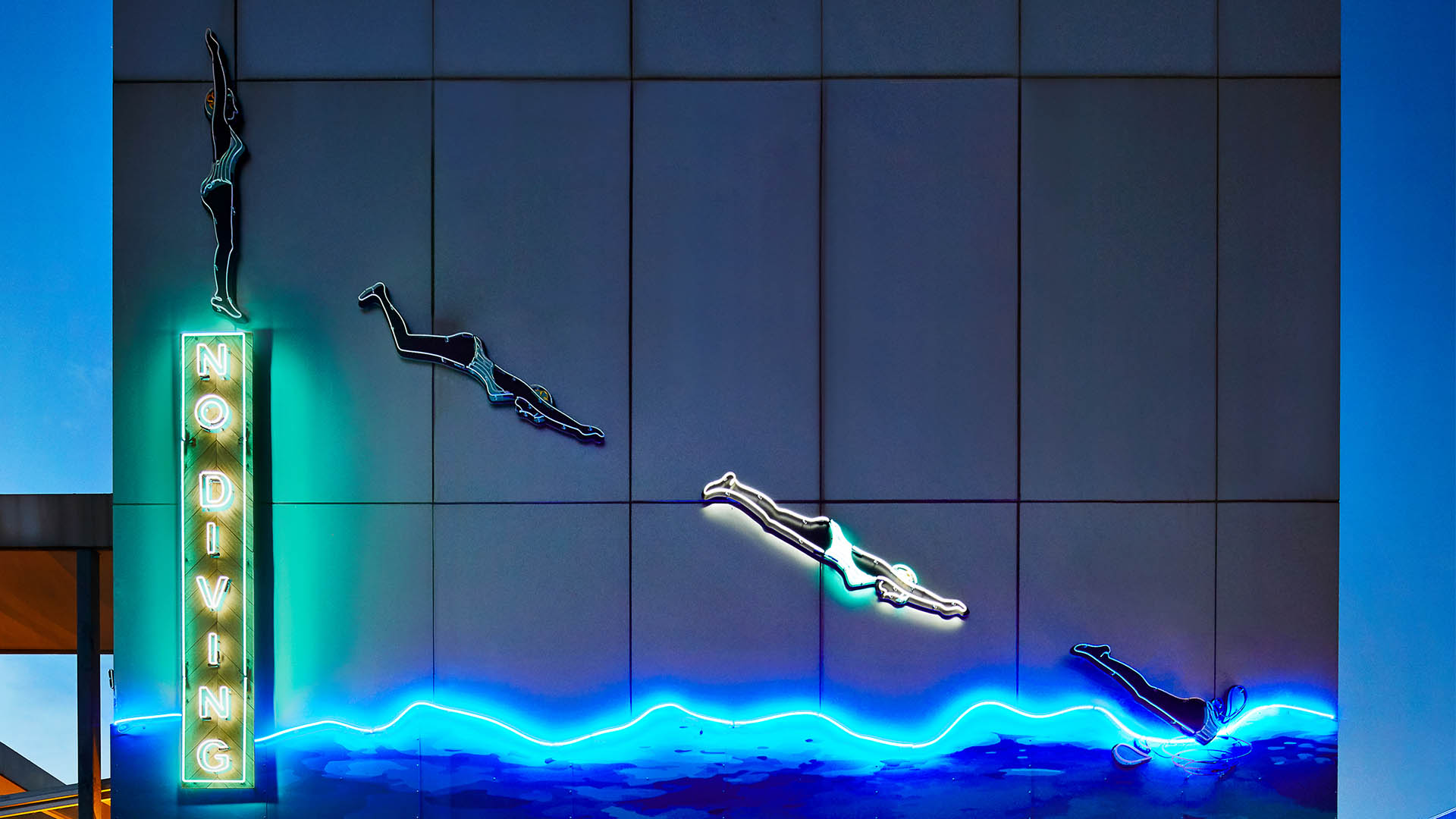 No Diving neon sign
