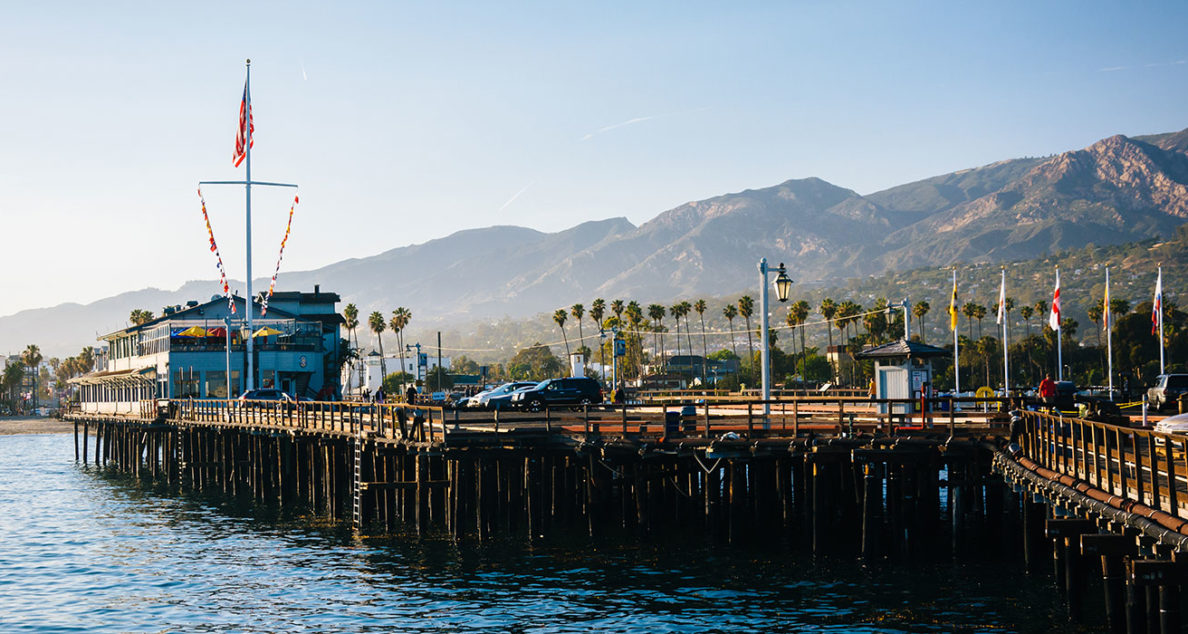 Waterfront view of Stearn's Wharf, in Santa Barbara, California.