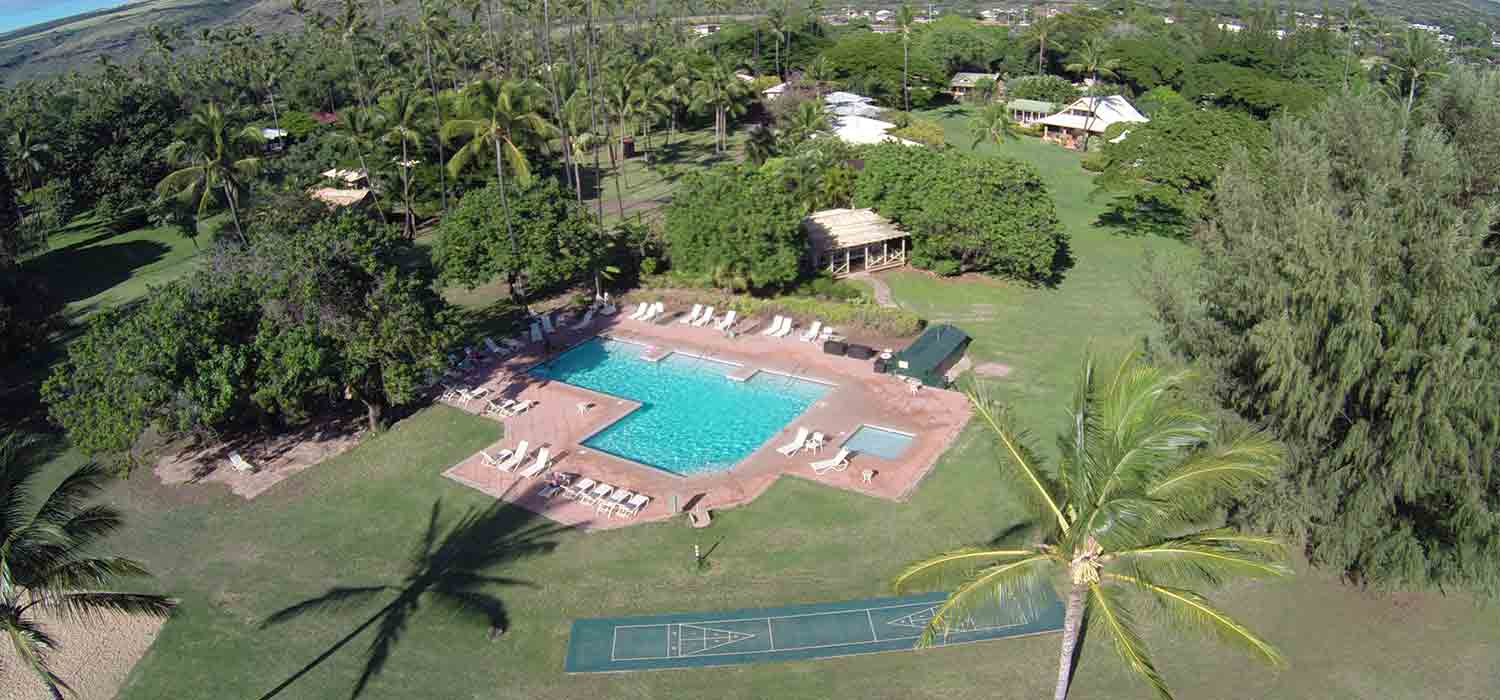 Aerial view of the Waimea Plantation Cottages location and pool.