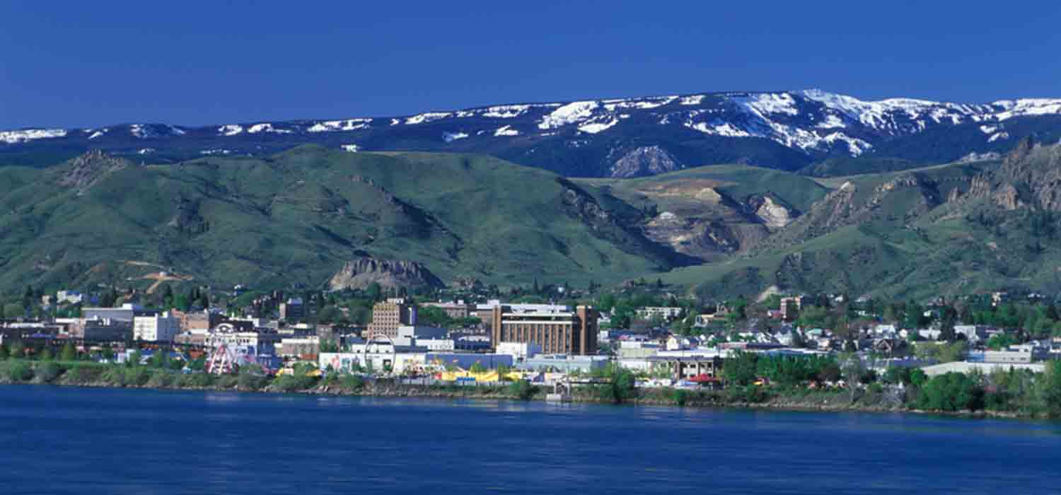 Aerial view overlooking the town of Wenatchee from the harbour side.
