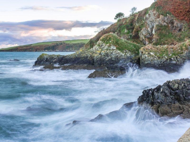 Autumn in Cornwall seas crashing on rocks