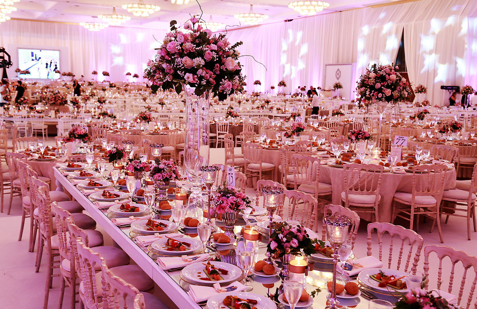 Wedding hall with beautiful decorations at Wow Hotels Group