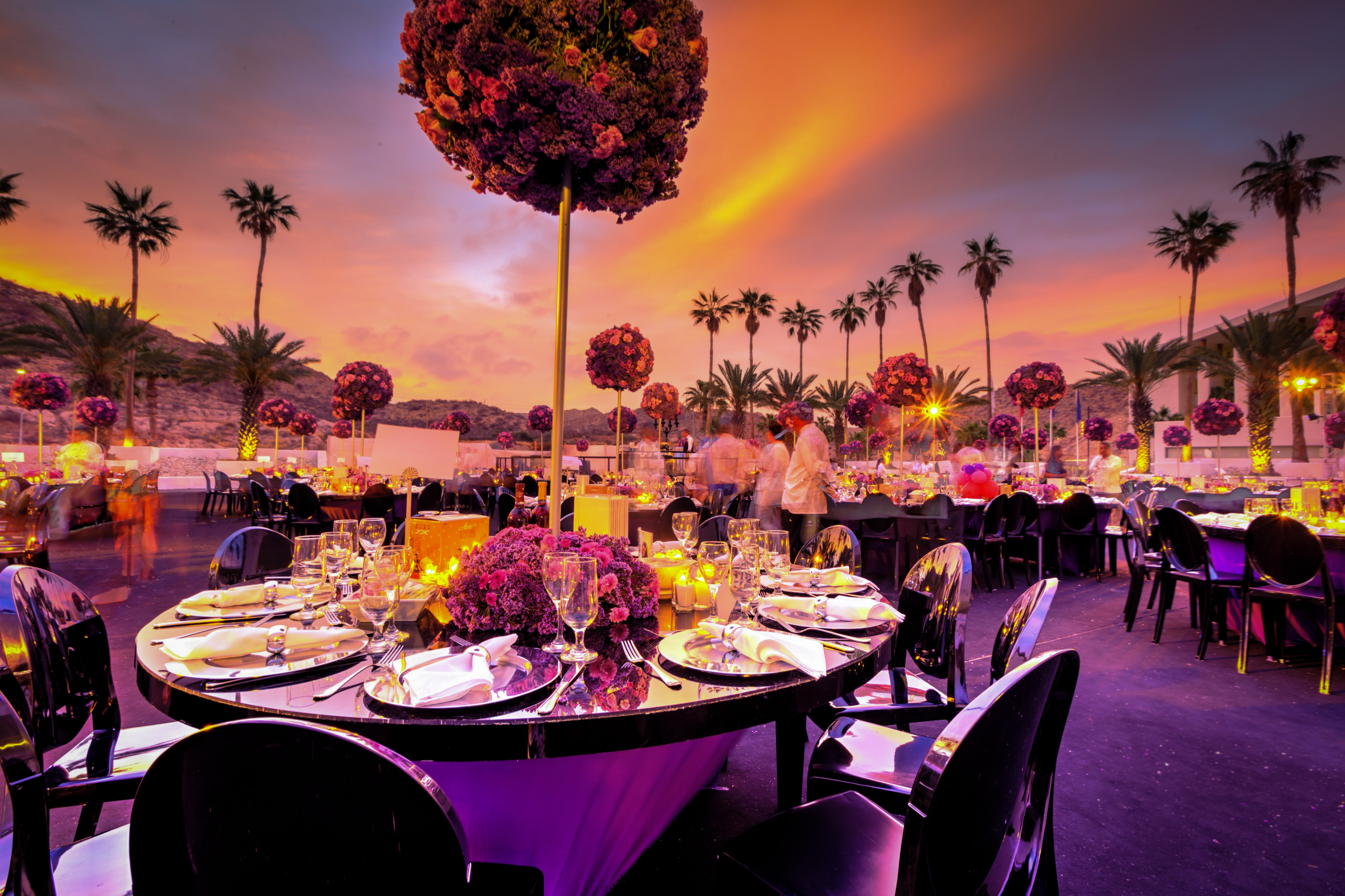 decorated tables at an outside event