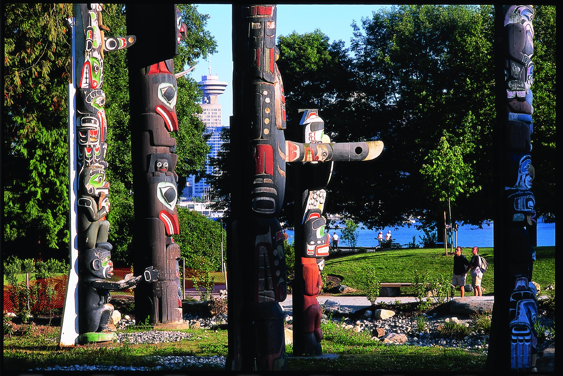Stanley Park Totem view Poles near Granville Island Hotel