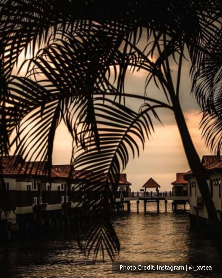 Sunset view over the water villa by the sea at Grand Lexis Port Dickson.