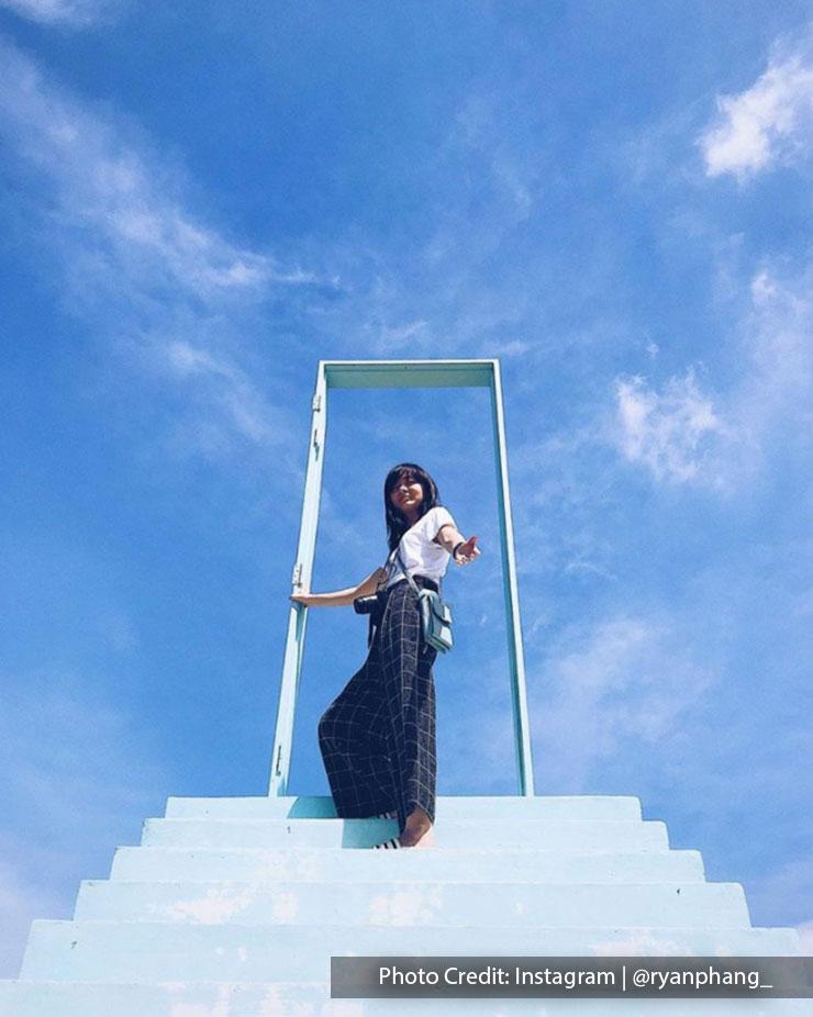 woman sky ladder pineapple farm port dickson