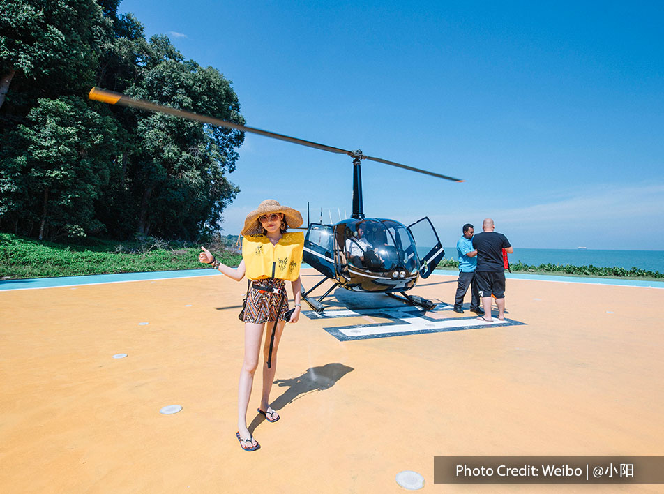 Helicopter tour to view the island provided by 5-star hotel in Malaysia