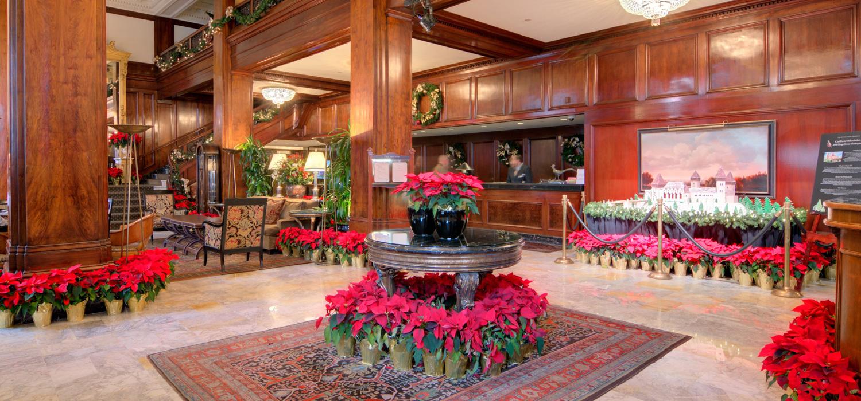 The Benson's lobby at Christmas