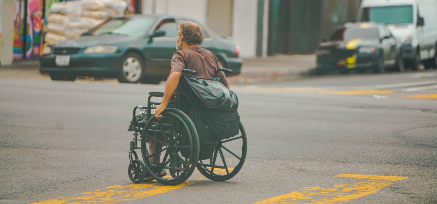 Crossing the street in a wheelchair