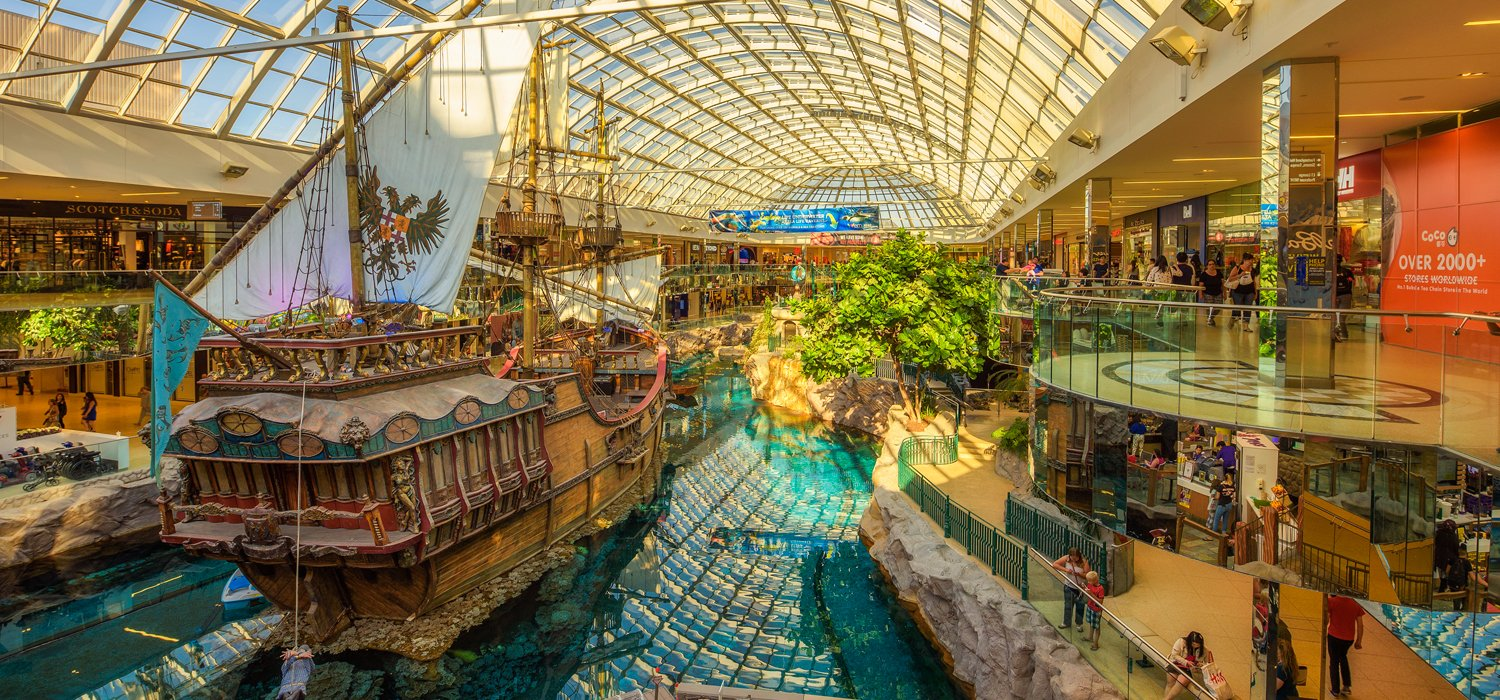 inside the West Edmonton Mall with pirate ship