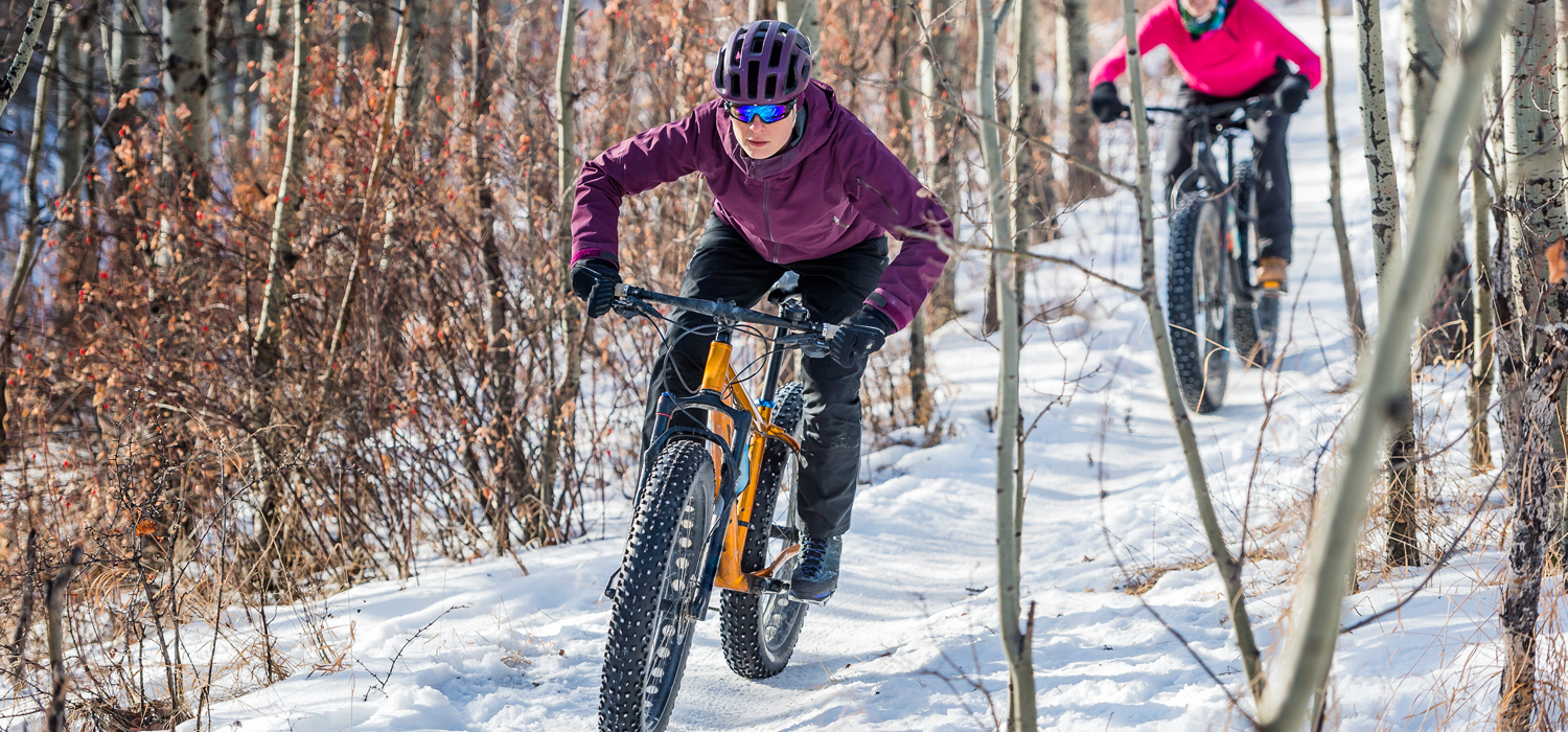 two people fat biking near Canmore