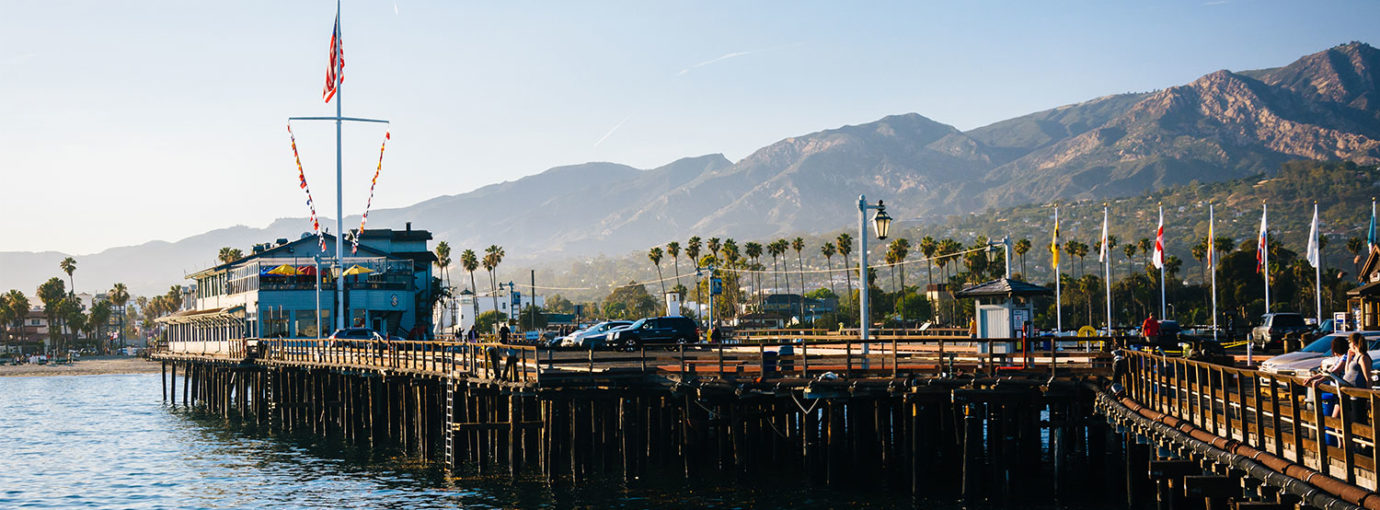 Waterfront view of Stearn's Wharf, in Santa Barbara, California