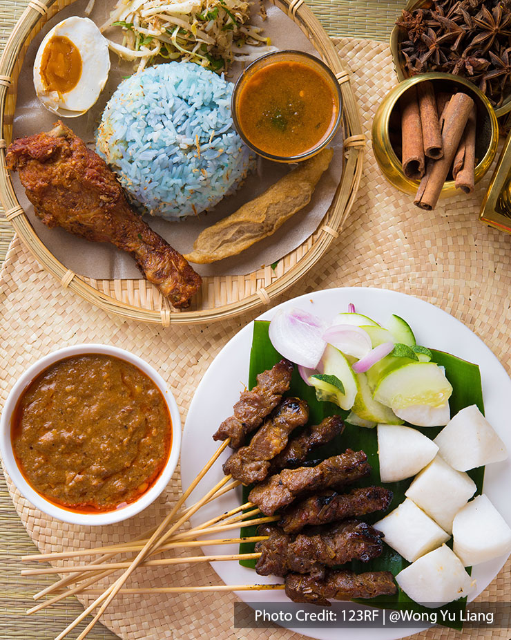 Malaysia port dickson local food nasi kerabu keropok and satay