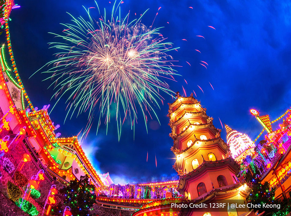 A festive celebration in Chinese temple with fireworks