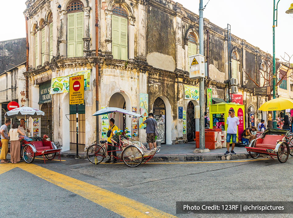 A day time photo of old-fashioned architecture in penang