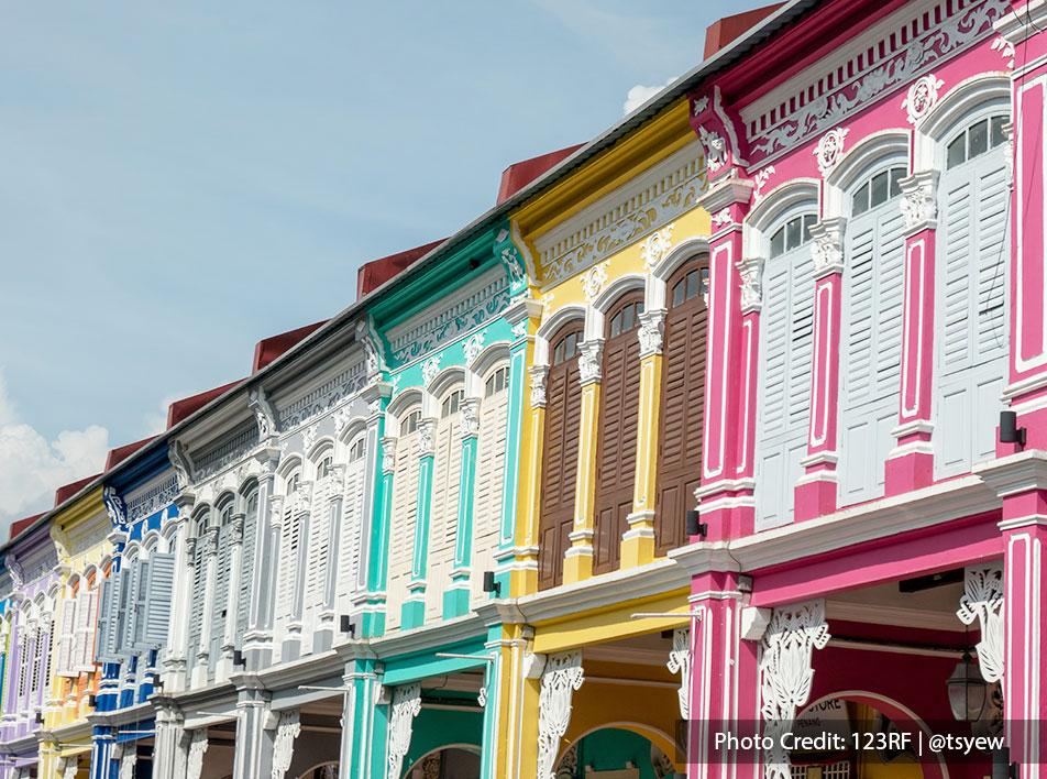Beautiful painted heritage houses in Penang