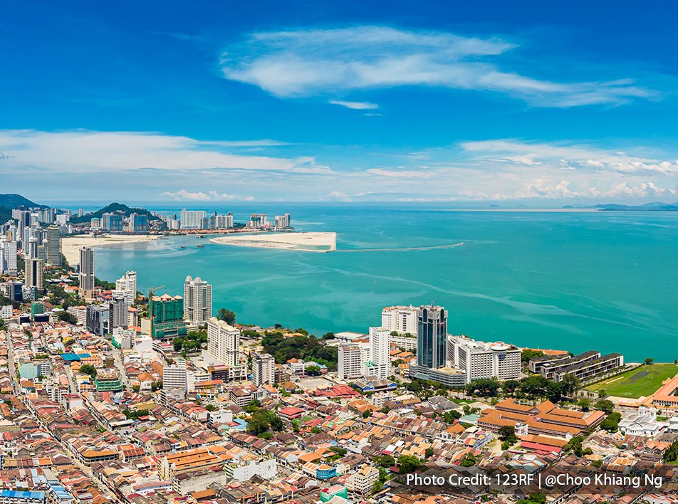 A beautiful sea view of Georgetown City in Penang